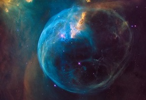 False Colour image of The Bubble Nebula. Image Credit: Hubble/NASA