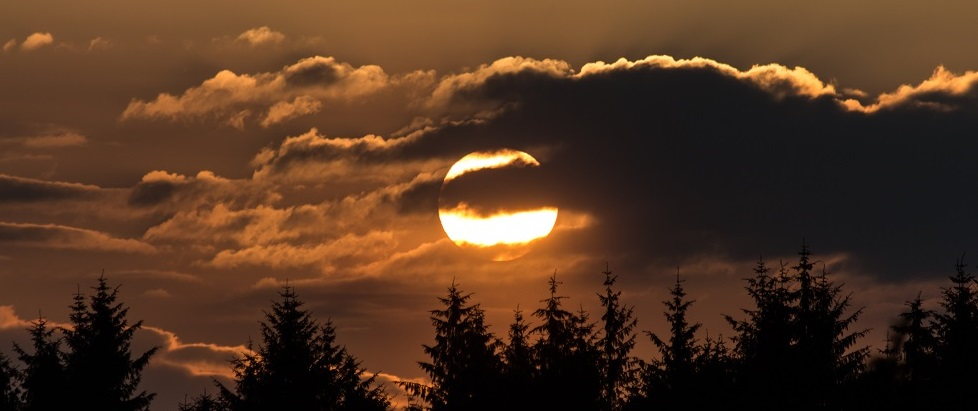 Sunset over Kielder Forest - sunspots can be observed through telescopes when using special solar filters